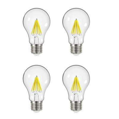 60-Watt Equivalent A19 Dimmable Clear Filament Vintage Style LED Light Bulb, Daylight (4-Pack)