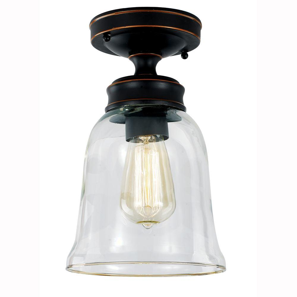 Hampton Bay 1 Light Oil Rubbed Bronze Vintage Bulb Semi Flush Mount With Bell Shaped Clear Glass Shade