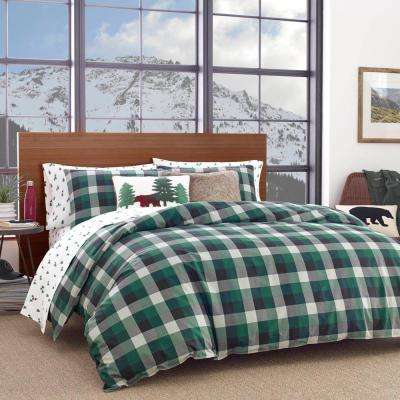 2-Piece Green Birch Cove Plaid Cotton Twin Comforter Set