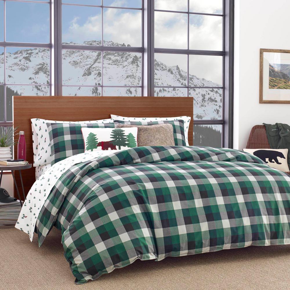 Birch Cove 3-Piece Green Plaid Cotton King Comforter Set