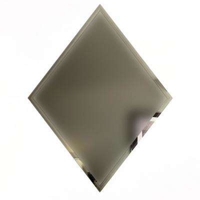 Reflections Gold Beveled Diamond 6 in. x 8 in. Frosted Matte Glass Mirror Wall Tile (6 Pc/Pack)