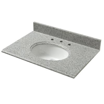31 in. W Granite Vanity Top in Napoli with White Bowl and 8 in. Faucet Spread