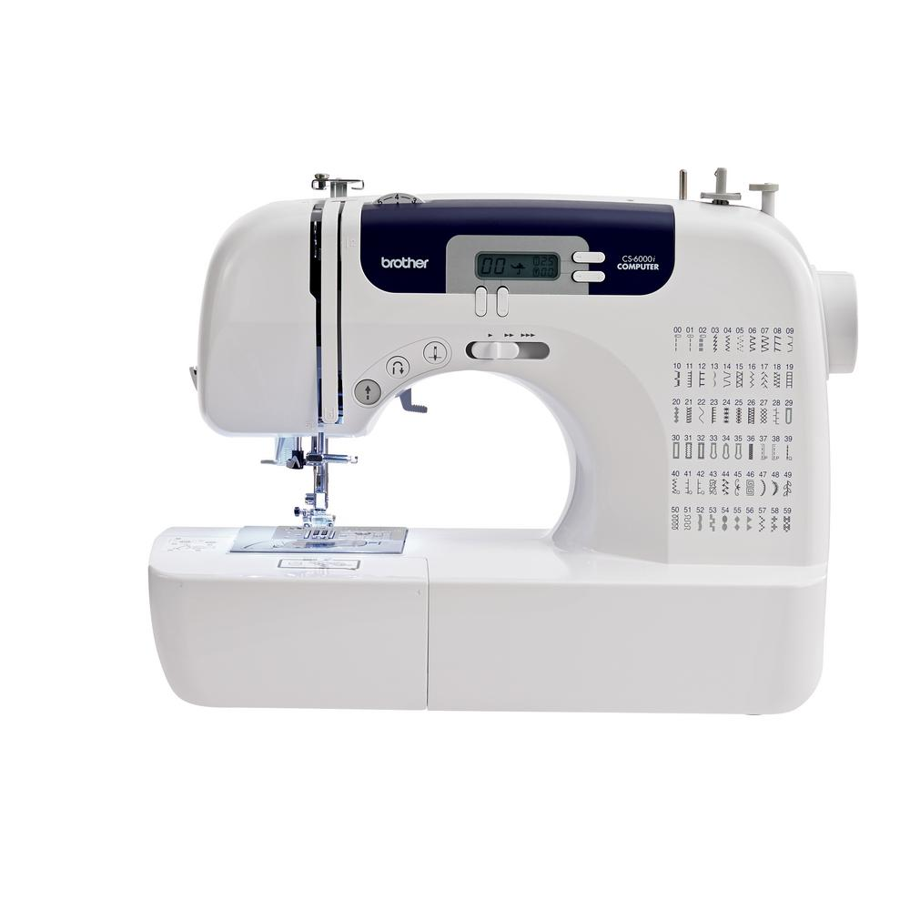 60-Stitch Computerized Sewing Machine, White Create, sew and quilt - easily and affordably. User-friendly and portable, the CS6000i offers a wide range of sewing and quilting features, all at a price that's easy on your budget. Select from 60 built-in sewing stitches, including decorative stitches and 7 styles of one-step buttonholes; choose from the 9 included presser feet; use the detachable, oversized table for larger projects; and take your machine with you to classes with the included hard carry case. The CS6000i is designed for ease of use, with its easy-to-view LCD display, automatic needle threader, easy-to-follow threading diagrams, and adjustable sewing speed control. Included are a printed Quick Start guide, and a complete instructions manual in English and in Spanish. Enjoy sewing, quilting and crafting with the incredibly value-packed, CS6000i sewing machine. Color: White.