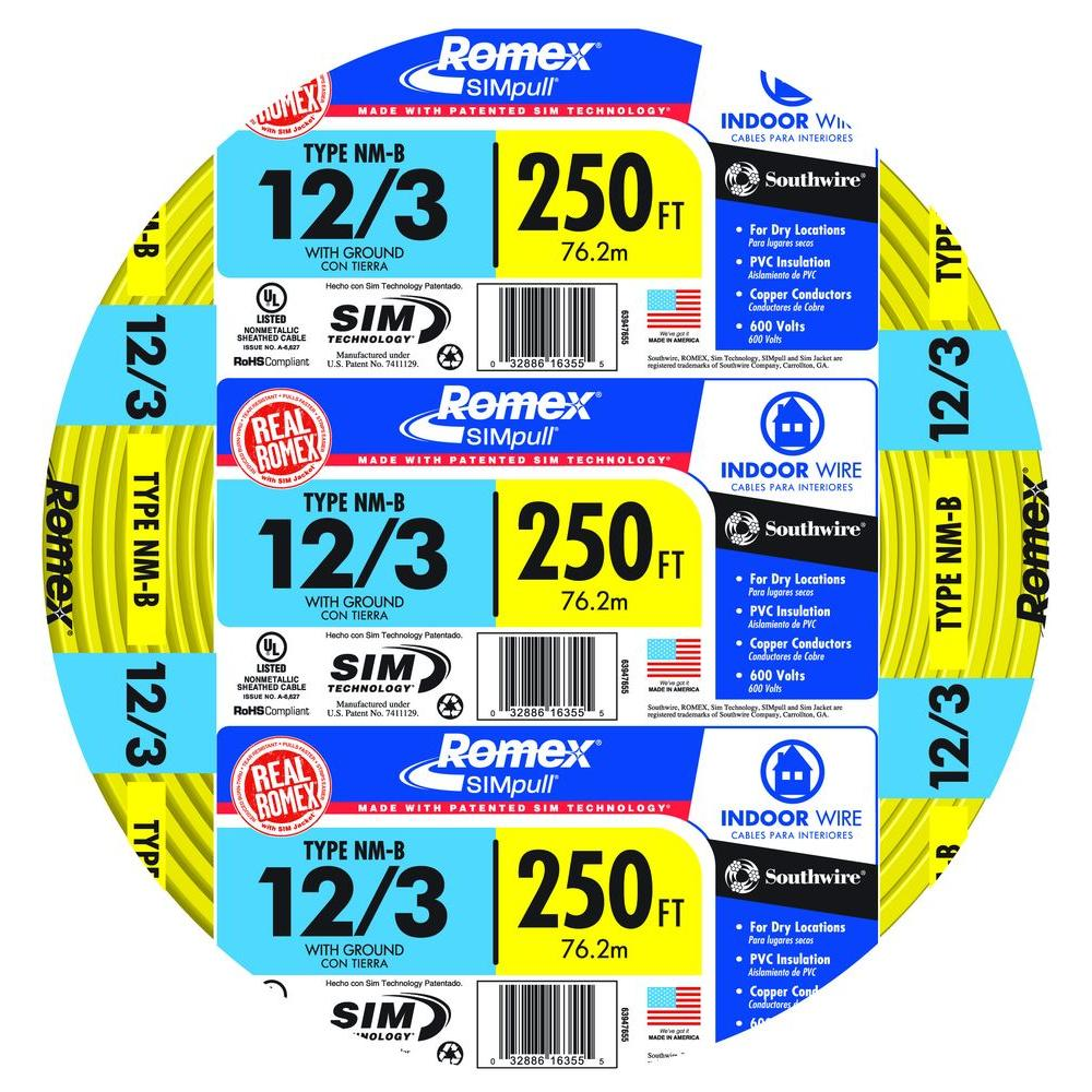 Southwire 250 Ft 12 3 Solid Romex Simpull Cu Nm B W G Wire 63947655 Electrical Wiring For Dummies