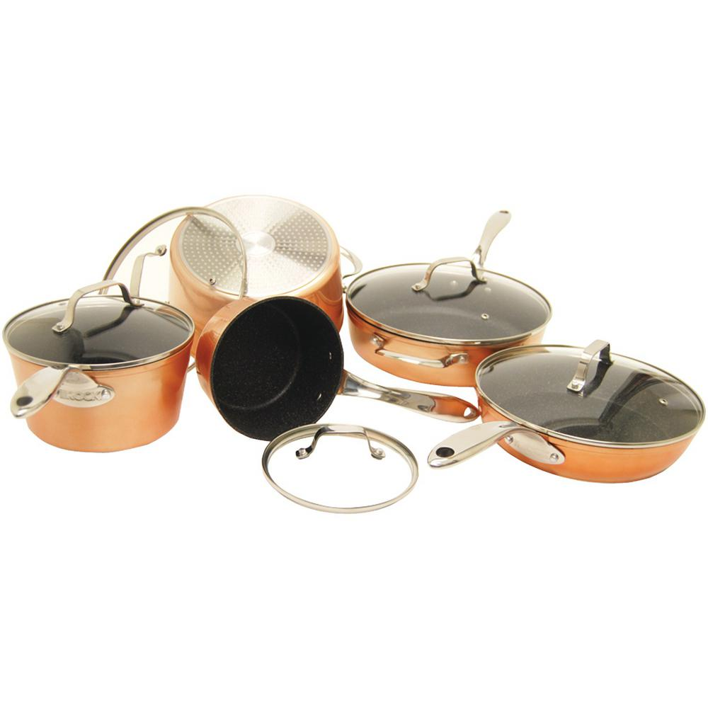 Starfrit Rock 10-Piece Cookware Set in Copper (Brown)