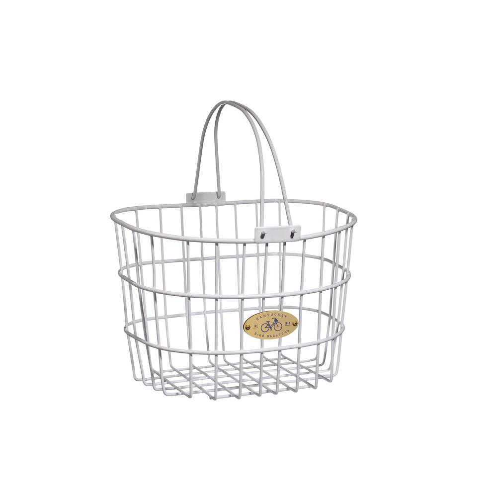Nantucket Bicycle Basket Surfside Adult Wire D Shape Basket In White