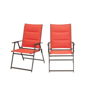 Mix and Match Steel Padded Sling Folding Outdoor Patio Dining Chair in Ruby Red (2-Pack)