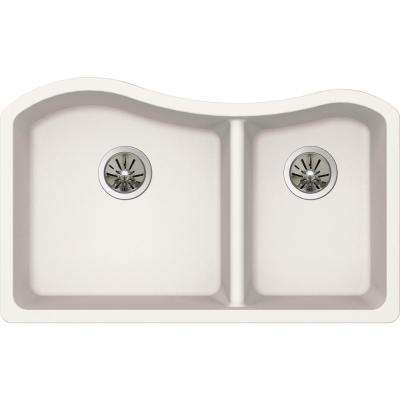 Quartz Luxe Undermount Composite 33 in. Rounded 50/50 Double Bowl Kitchen Sink in Ricotta