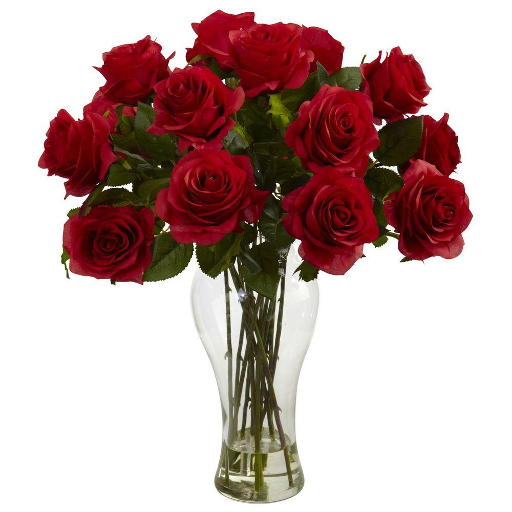 Nearly Natural Blooming Roses With Vase In Red 1328 Rd The Home Depot