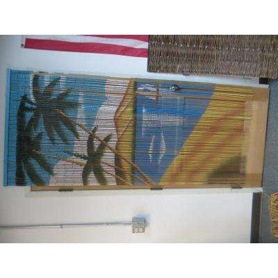 Sailboat Print Beaded Bamboo Curtain
