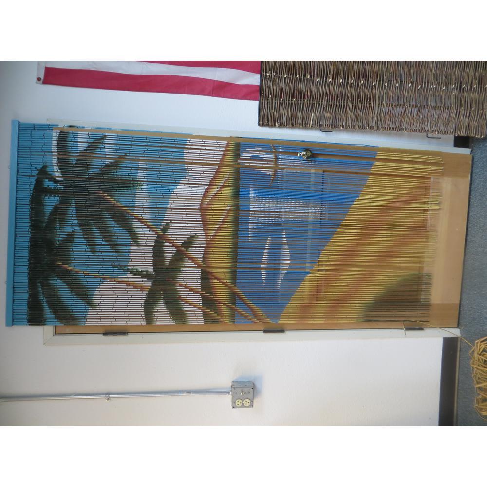 Sailboat Print Beaded Bamboo Curtain
