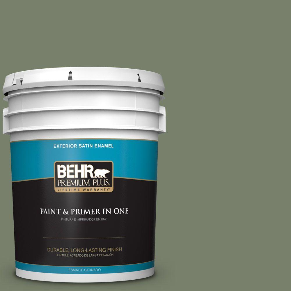 BEHR Premium Plus 5-gal. #430F-5 Bahia Grass Satin Enamel Exterior Paint