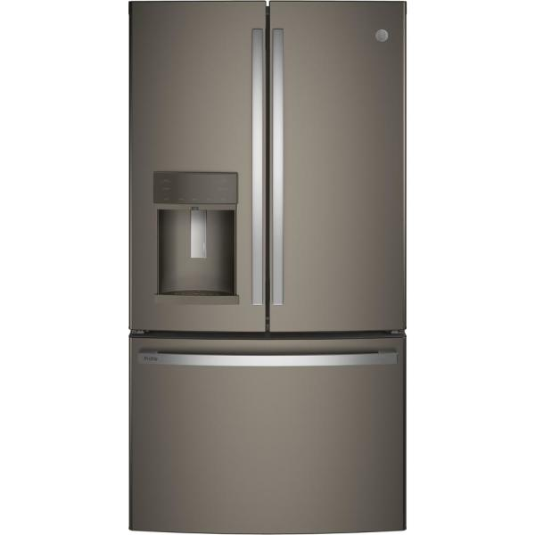 Profile 22.2 cu. ft. French Door Refrigerator with Hands Free Autofill in Slate, Counter Depth and Fingerprint Resistant