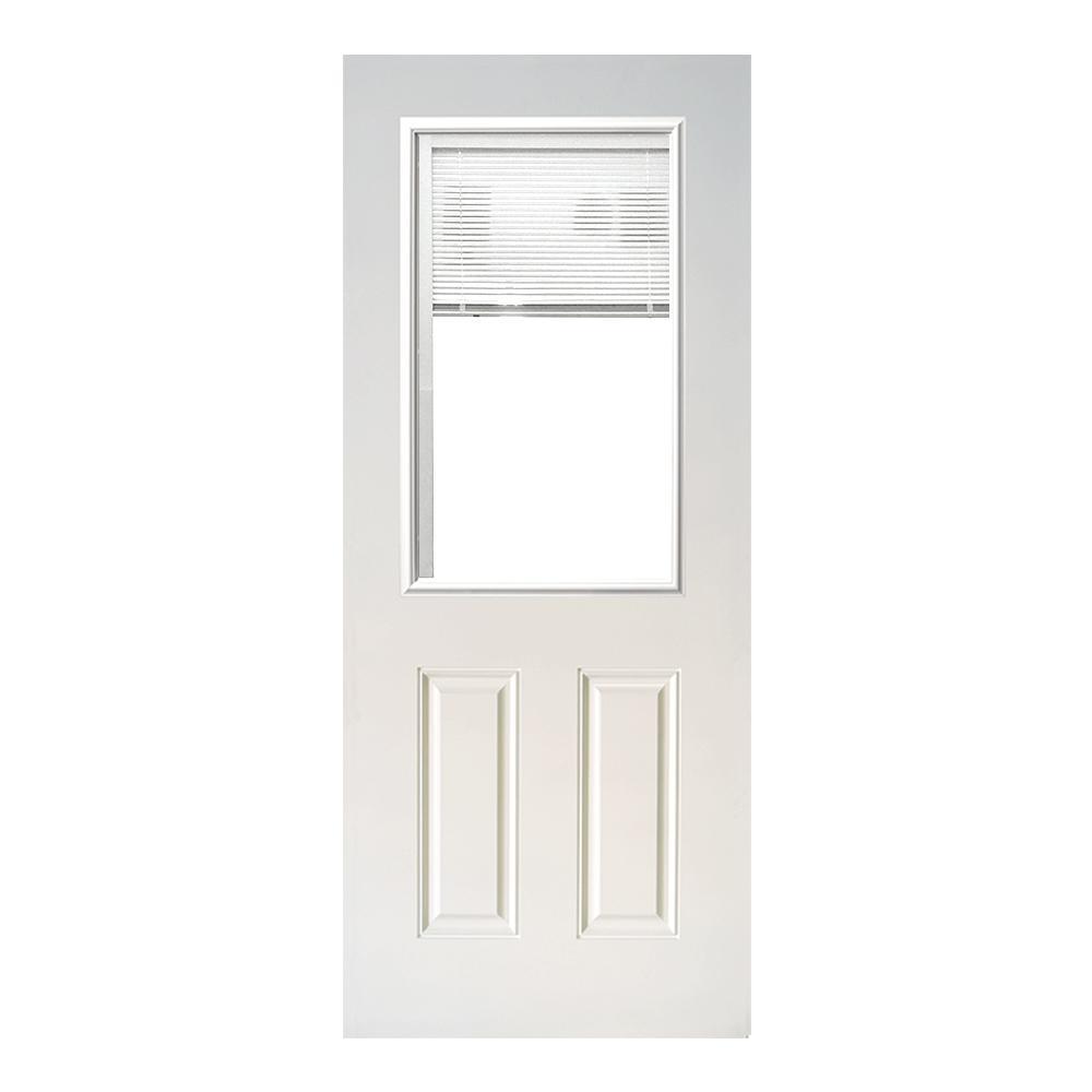 Steves u0026 Sons 31-3/4 in. x 79 in. Half Lite  sc 1 st  The Home Depot & Steves u0026 Sons 31-3/4 in. x 79 in. Half Lite Mini-Blind White ... pezcame.com