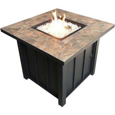 40,000 BTU 30 in. Square Brown Tile Top Propane Fire Pit