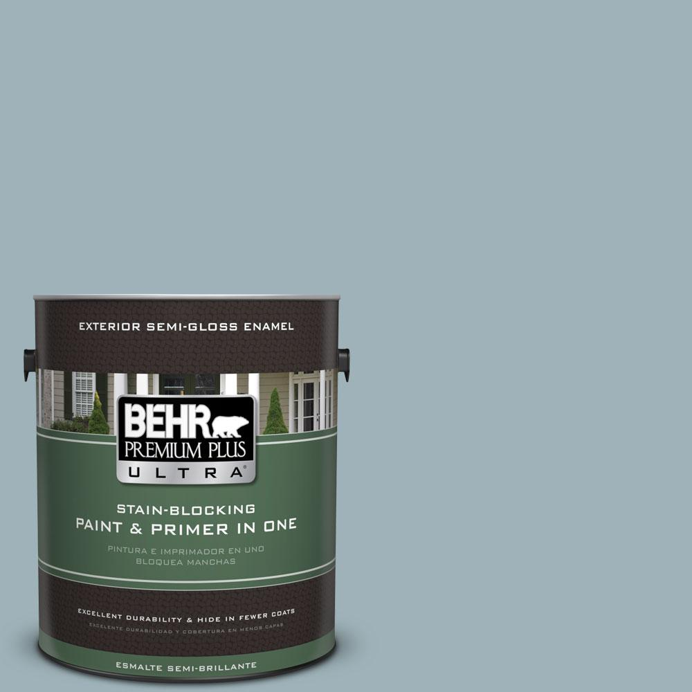 BEHR Premium Plus Ultra 1-gal. #540E-3 Blue Fox Semi-Gloss Enamel Exterior Paint