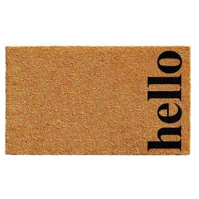 Vertical Hello Door Mat Natural/Black 17 in. x 29 in.