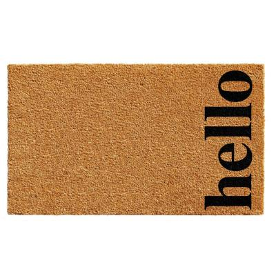Vertical Hello Natural/Black 24 in. x 36 in. Door Mat