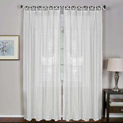 Sheer 52 in. W x 84 in. L Greta White Crushed Sheer Tie Loop Curtain