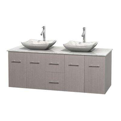 Centra 60 in. Double Vanity in Gray Oak with Marble Vanity Top in Carrara White and Sinks