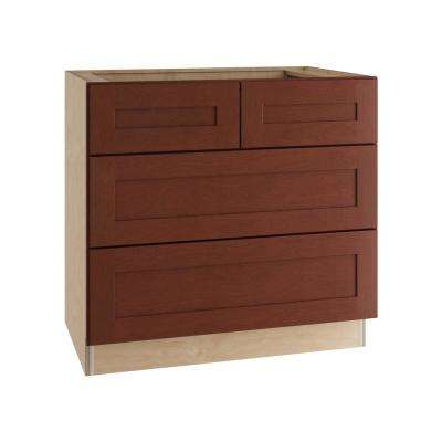 Kingsbridge Assembled 36x34.5x24 in. 4 Drawers Base Kitchen Cabinet in Cabernet