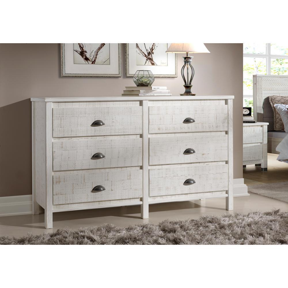 Camaflexi Baja 6-Drawer Shabby White Dresser BJ409