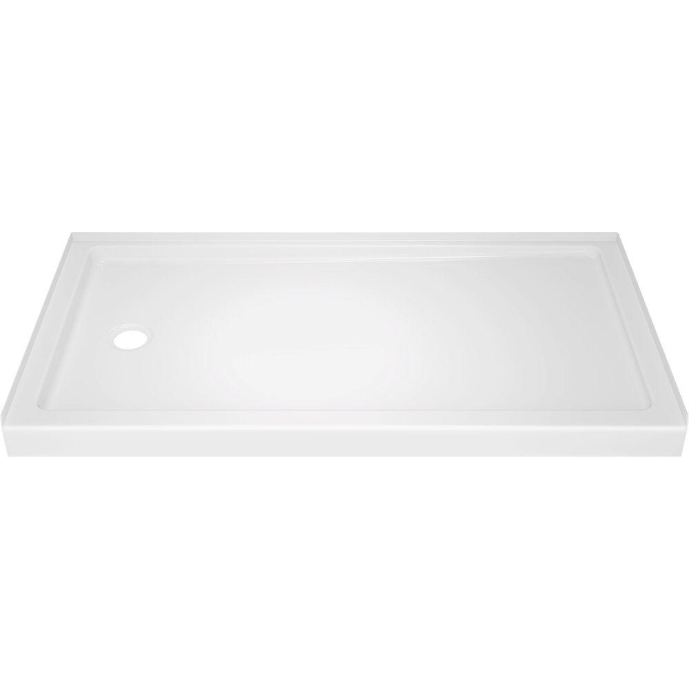 Delta Classic 400 32 in. x 60 in. Single Threshold Left Drain Alcove Shower Base in High Gloss White