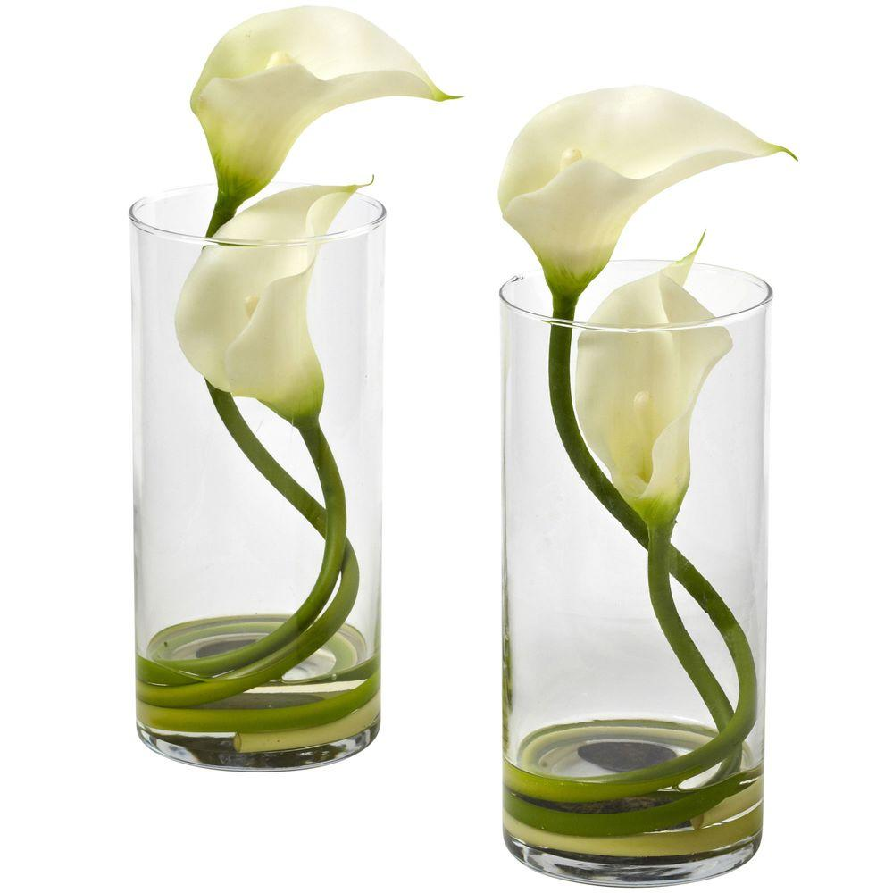 Nearly natural double calla lily with cylinder set of 2 1390 cr s2 nearly natural double calla lily with cylinder set of 2 izmirmasajfo