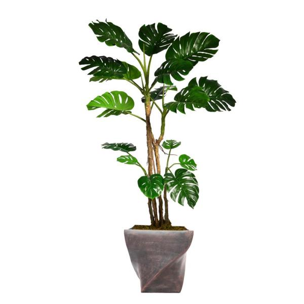 Laura Ashley 81.5 in. Tall Monstera Artificial Faux Home Decor with Burlap Kit and Fiberstone Planter