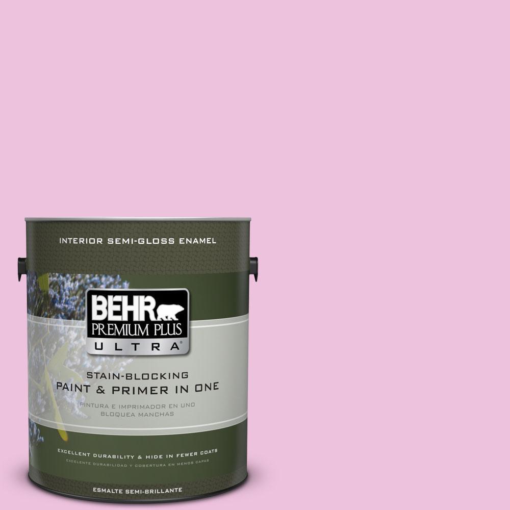 BEHR Premium Plus Ultra 1-gal. #P120-1 Starlet Pink Semi-Gloss Enamel Interior Paint