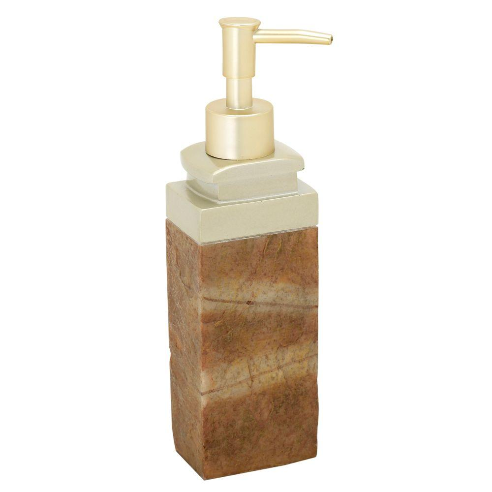 India Ink Zena Lotion Dispenser in Stone and Gold-DISCONTINUED