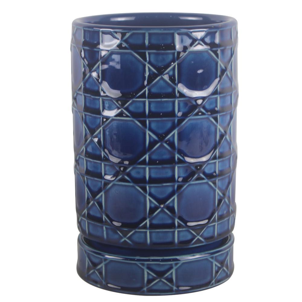 6 in. Dia Ceramic Cobalt Blue Carlysle Cylinder Planter