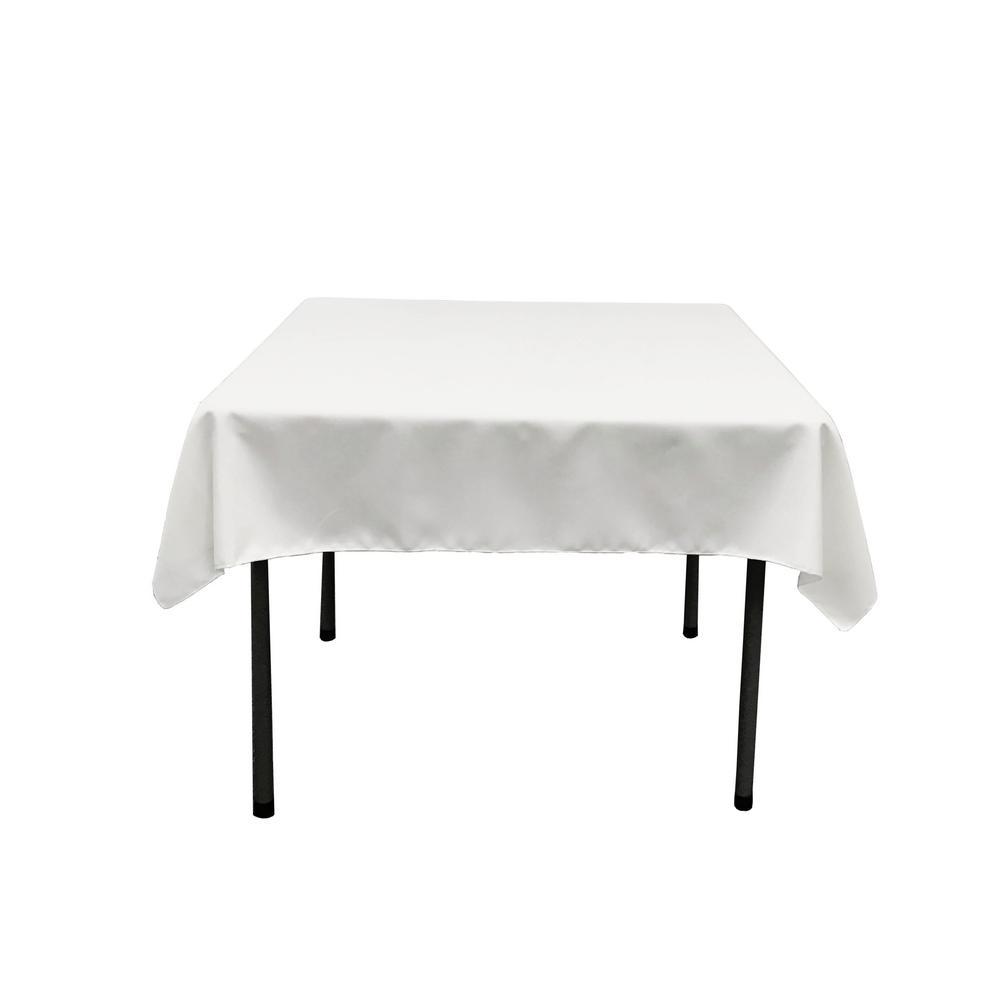LA Linen 52 In. X 52 In. White Polyester Poplin Square Tablecloth