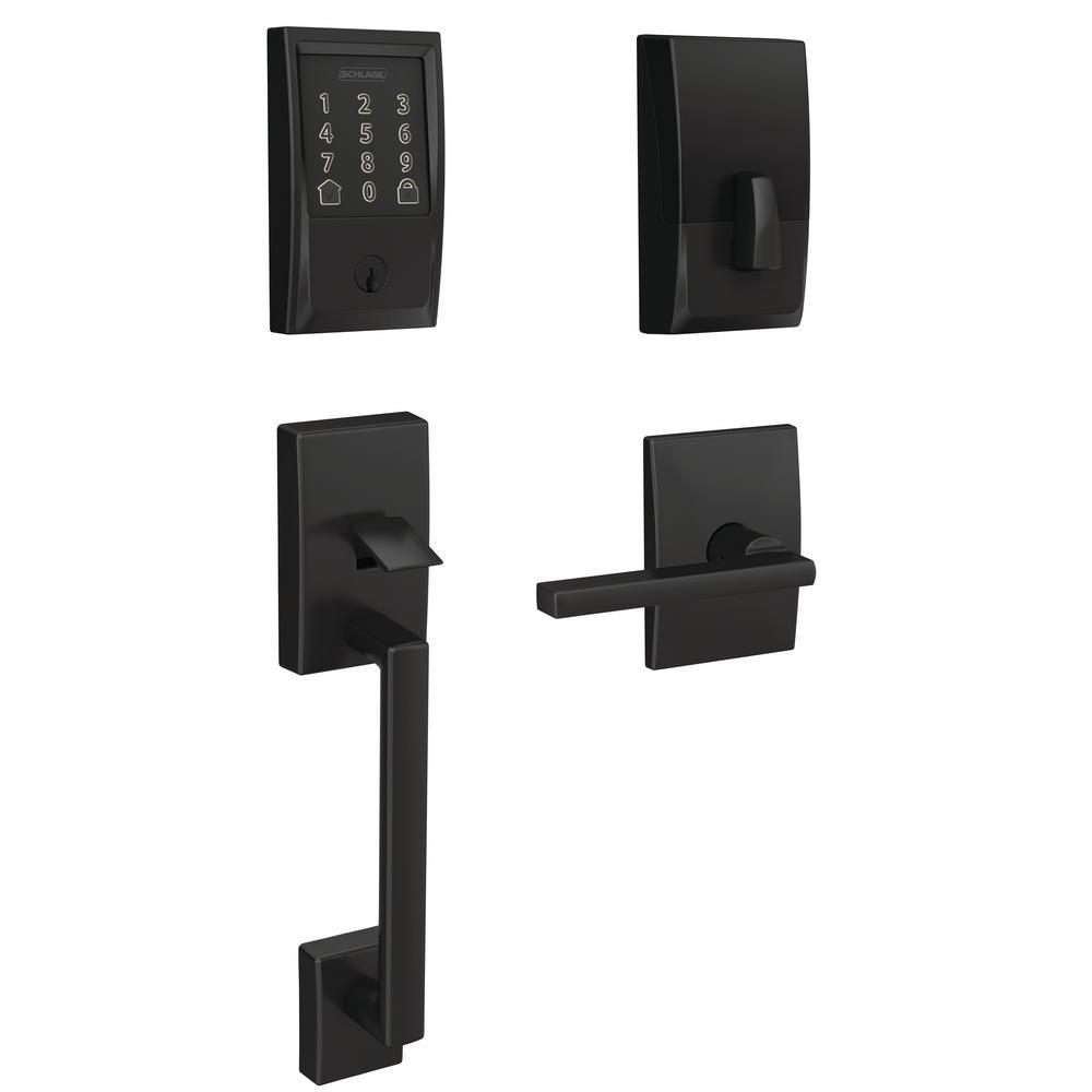 Schlage Century Encode Smart Wifi Door Lock with Alarm and Latitude Lever Handleset in Matte Black