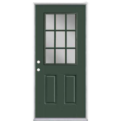 36 in. x 80 in. 9 Lite Conifer Right-Hand Inswing Painted Smooth Fiberglass Prehung Front Door with No Brickmold