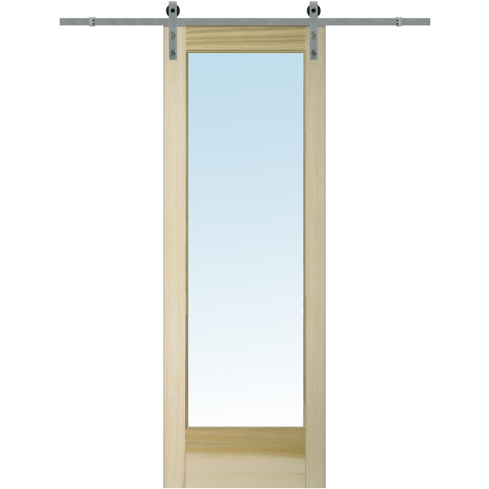 36 in. x 96 in. Clear 1 Lite Unfinished Poplar Single Barn Door with Sliding Door Hardware Kit