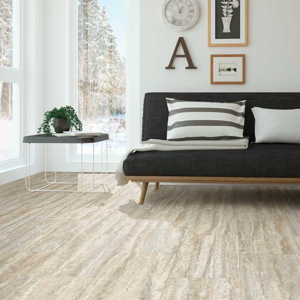 Travertine Plank Natural Click Vinyl