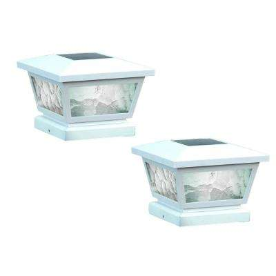 5 in. x 5 in./ 4 in. x 4 in. White ABS Outdoor Fairmont Solar Post Cap (2-Pack)