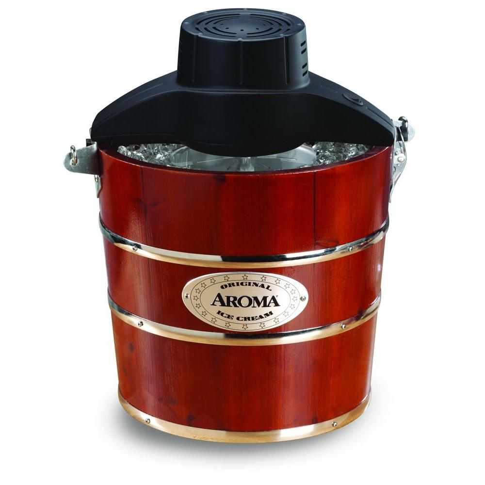 AROMA 4 qt. Wood Barrel Ice Cream Maker-DISCONTINUED