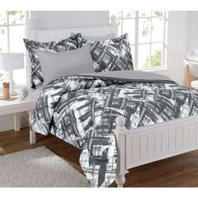 Alex Plaid 5-Piece Gray Twin Bed in a Bag Set