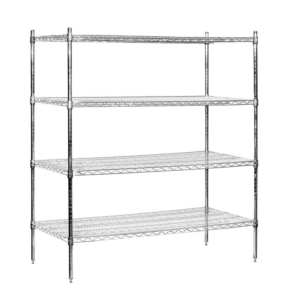 Salsbury Industries 9500S Series 60 in. W x 63 in. H x 24 in. D Industrial Grade Welded Wire Stationary Wire Shelving in Chrome