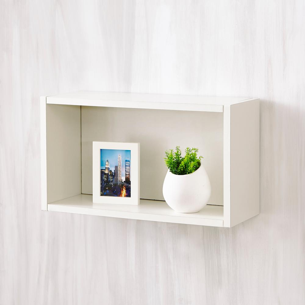 Way Basics Nottingham 7.7 x 19.7 x 11.2 zBoard  Wall Rectangle Decorative Floating Shelf in Pearl White