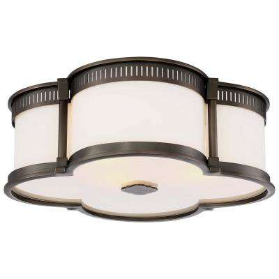 3-Light Harvard Court Bronze Finish Flush Mount with Etched White Glass