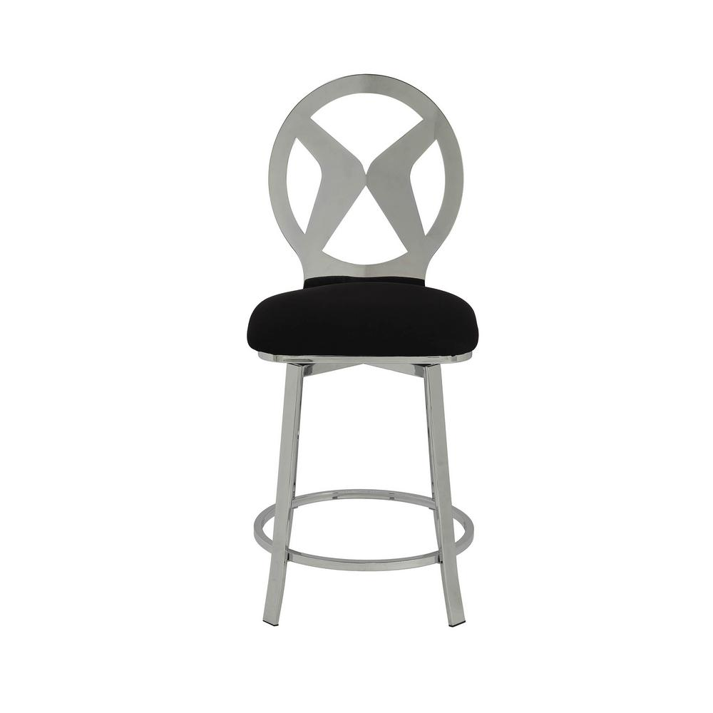 Set Of 2 Kitchen Counter Height Chairs With Microfiber: Acme Furniture Felice Black Microfiber And Chrome Counter