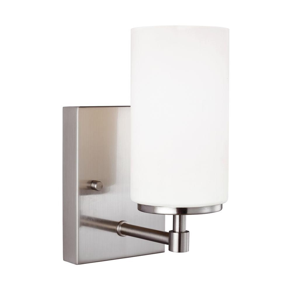 Sea Gull Lighting Alturas In W Light Brushed Nickel Wall - Polished nickel bathroom wall sconces