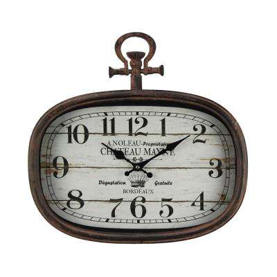 French Village Distressed Brown Numeric Clock