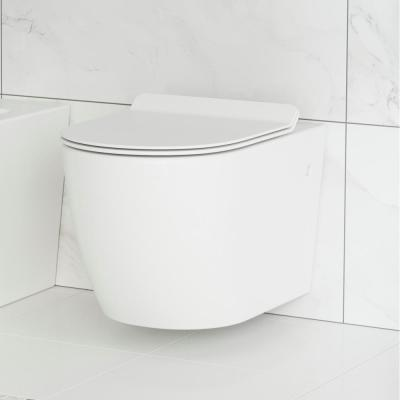 Swiss Madison St Tropez Wall Hung Toilet Bowl 0 8 1 28 Gpf Dual Flush Elongated In White Sm Wt449 The Home Depot