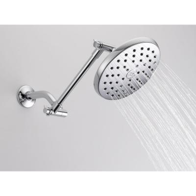 1-Spray 7.5 in. Single Wall Mount Fixed Rain Shower Head in Chrome