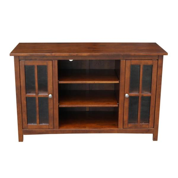 International Concepts 48 in. Espresso Wood TV Stand Fits TVs Up to 50 in. with Storage Doors