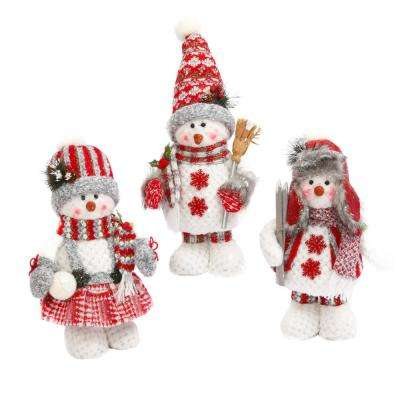 S/3 14 in. H Plush Red and Gray Holiday Snowman Figurines